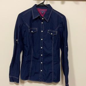 Tommy Hilfiger long sleeve button top navy small